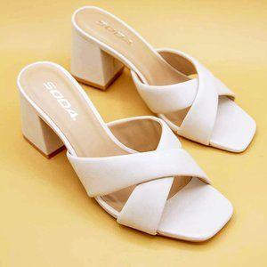 NEW Off White Twist Slip On Block Heel CUTE Sandal